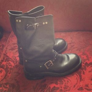Harley Davidson black leather motorcycle boots 9